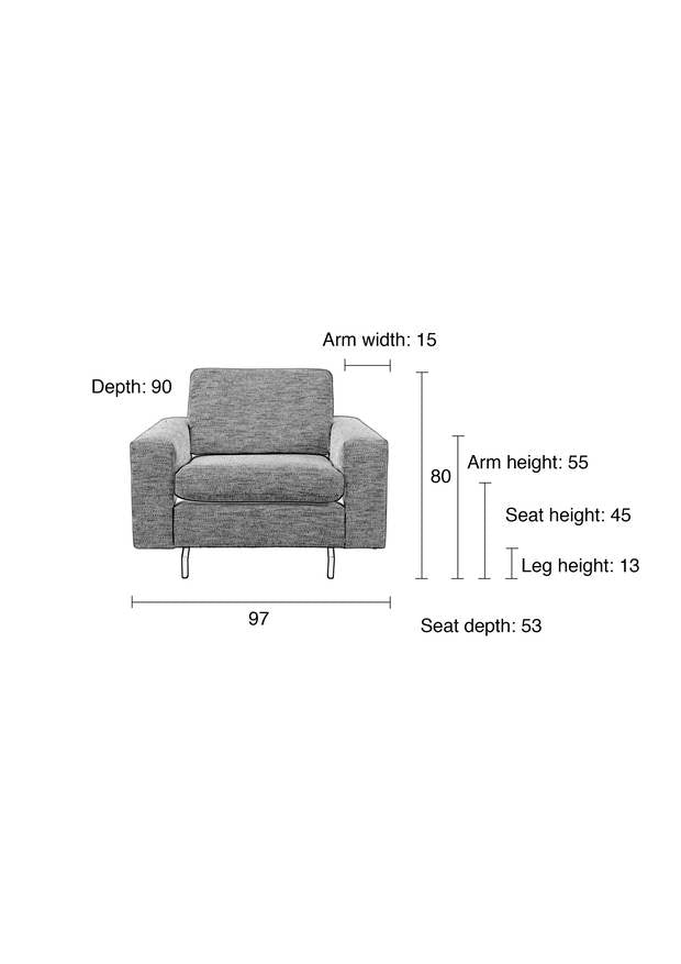 1 Seater Jean Sofa - Grey