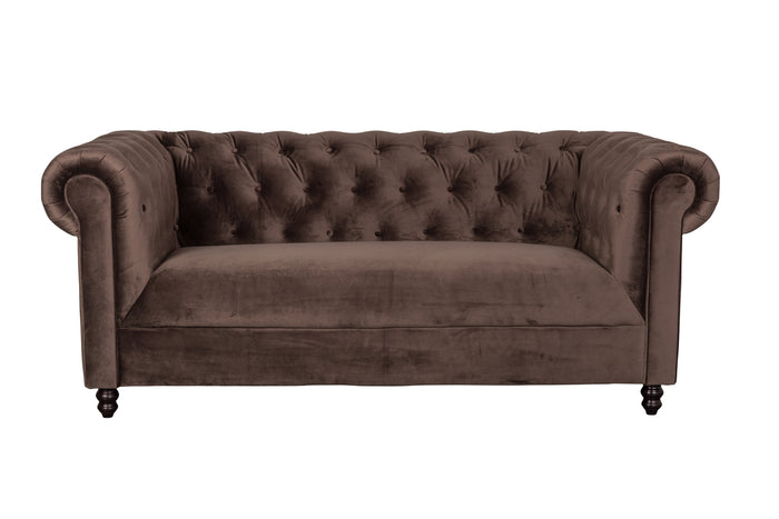 Chester Velvet Sofa - Dark Brown