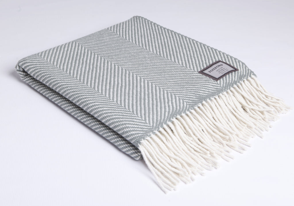 Aqua Herringbone Throw XL
