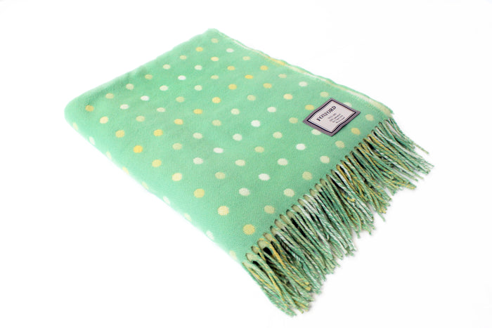 Green, White & Lime Spot Throw