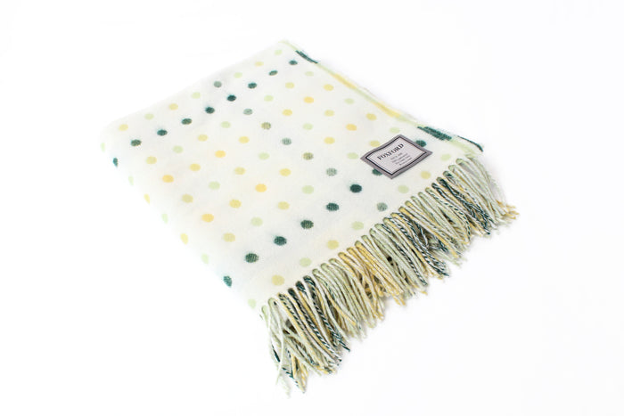 White, Green & Yellow Spot Throw