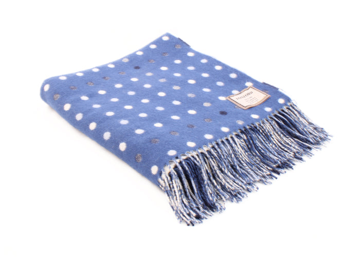 Ballina Blue Multispot Lambswool Throw