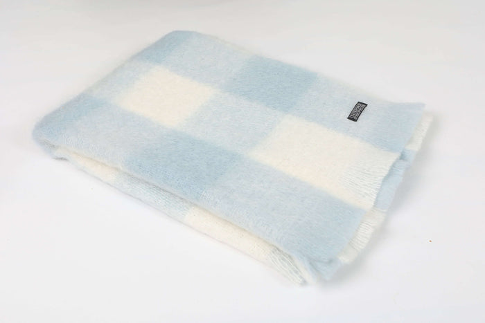 Blue and White Check Mohair Knee Rug