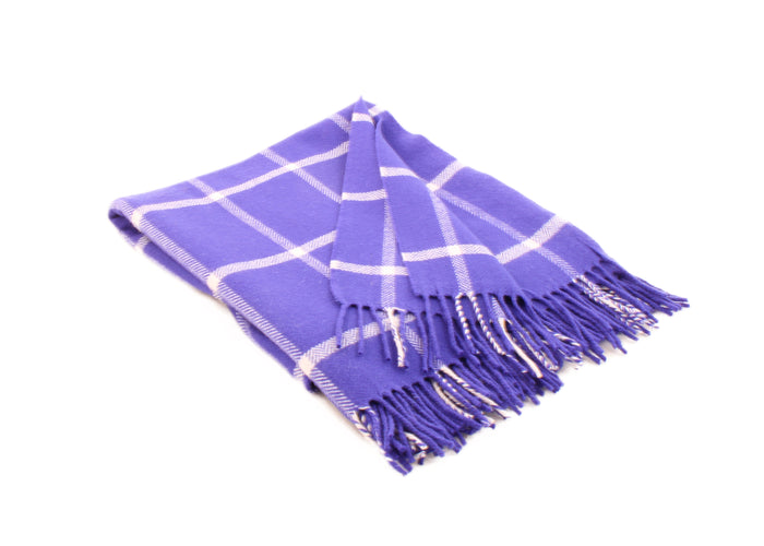 Purple and White Windowpane Throw