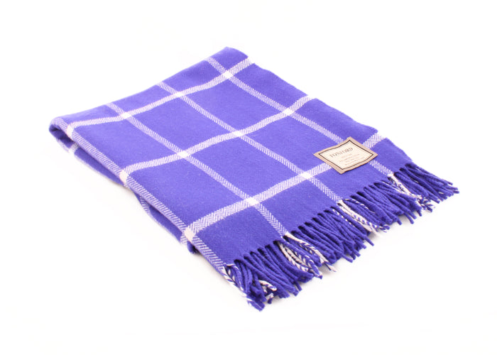 Foxford's Purple and White Windowpane Lambswool Throw