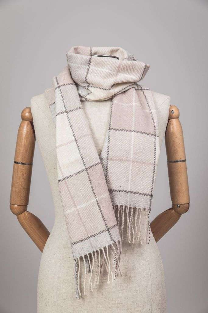 Blush Block Check Scarf
