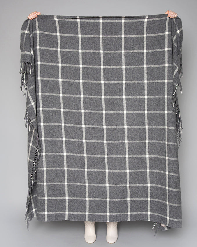 Grey Windowpane Throw / Knee Rug