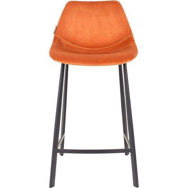 Velvet Franky Counter Stool - Orange