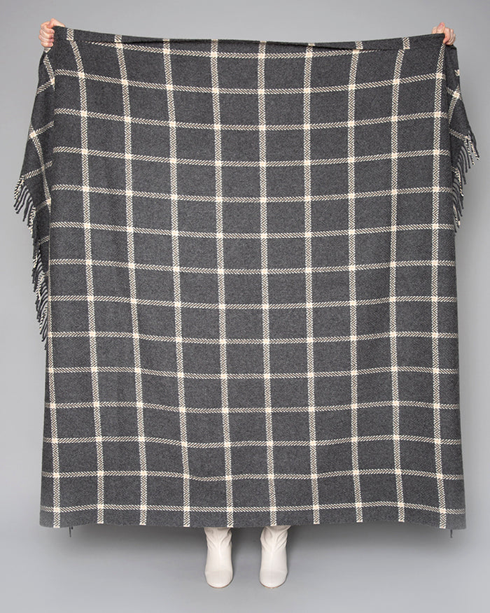 Grey & Bone Windowpane Throw
