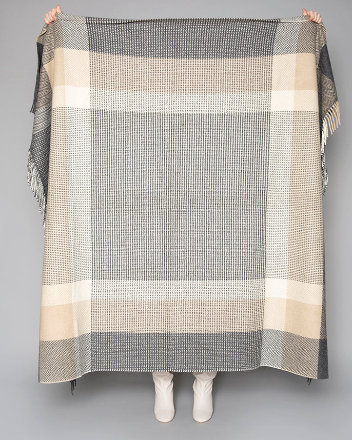 Grey, Bone & White Large Block Throw