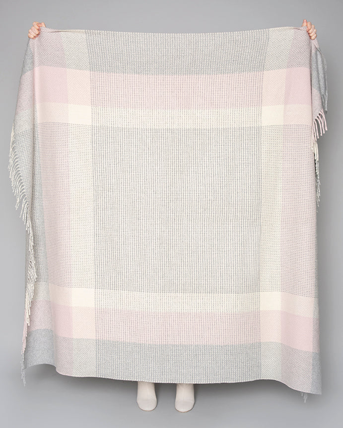 Pearl Grey, Pink and White Cashmere Throw