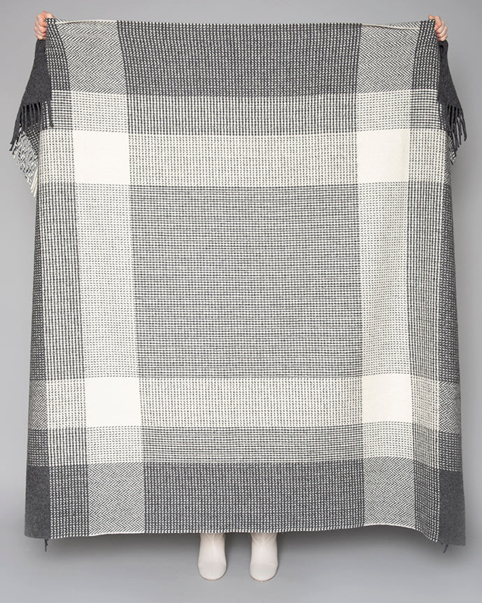 Grey & White Large Check Throw