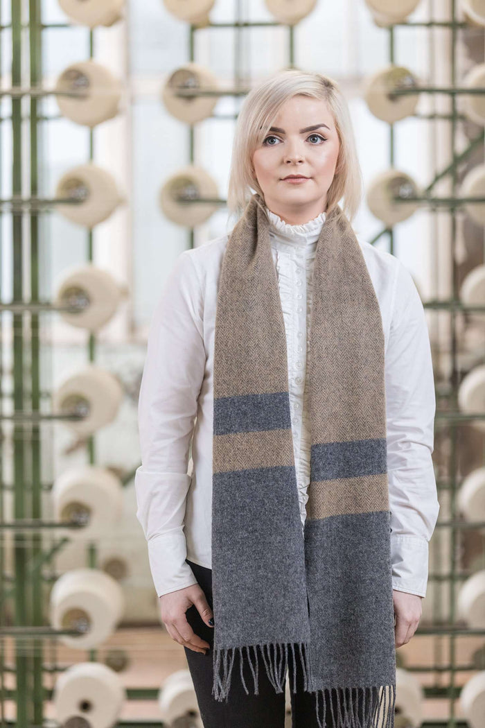 Woman wearing Foxford's Two Tone Classic Scarf in Woollen Mill