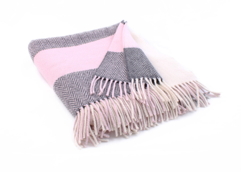 Pearl Grey, White, Pink & Oxford Cashmere Throw