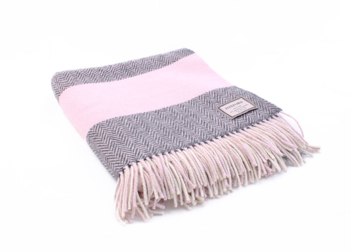 Foxford's Pearl Grey, White, Pink & Oxford Cashmere Throw