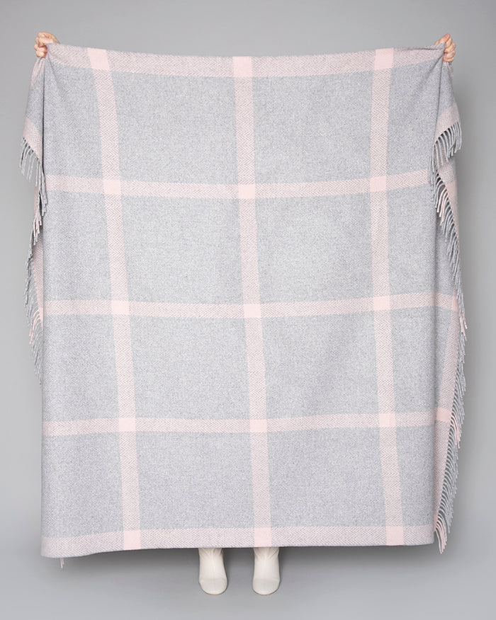 Pink and Pearl Grey Windowpane Cashmere Throw