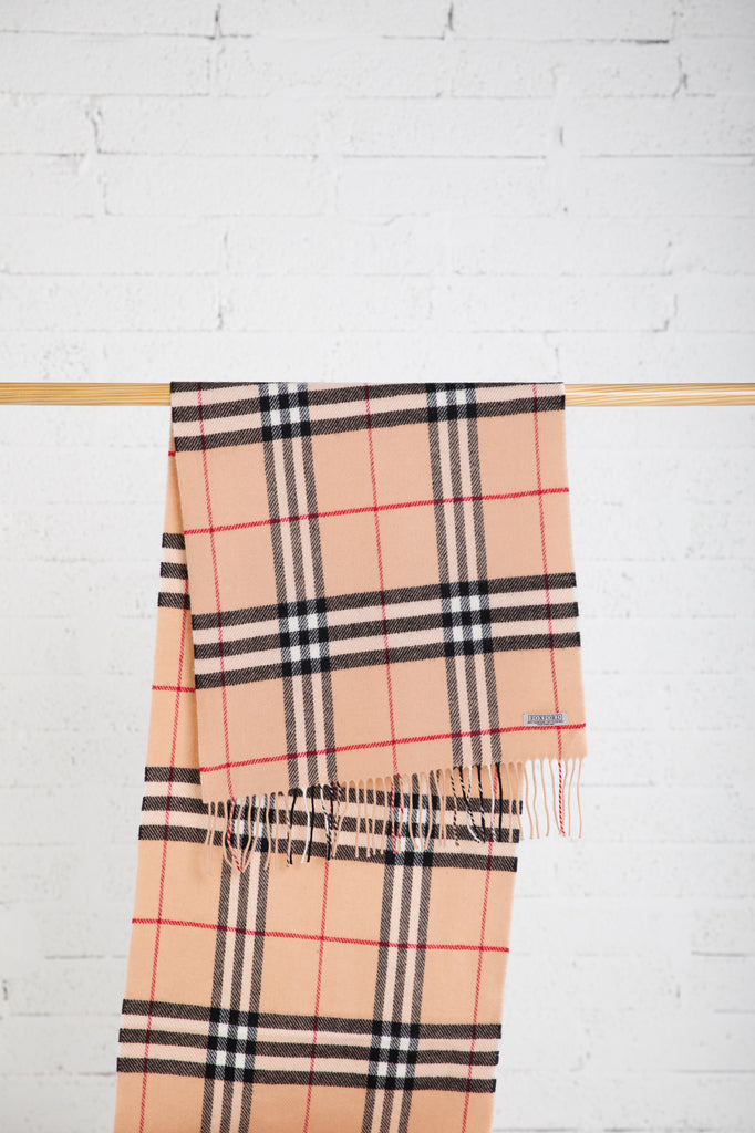 Large Fawn, Black & Red Check Scarf