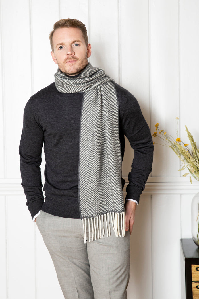 Oxford and White Herringbone Cashmere Scarf