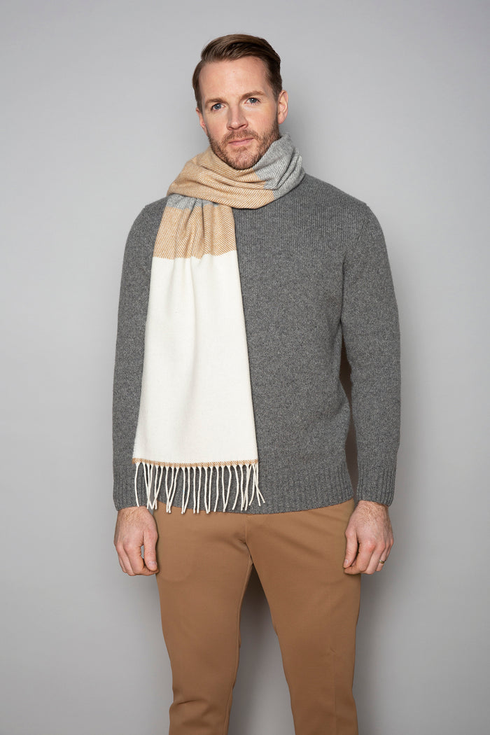 White, Uniform and Brown Stripe Scarf