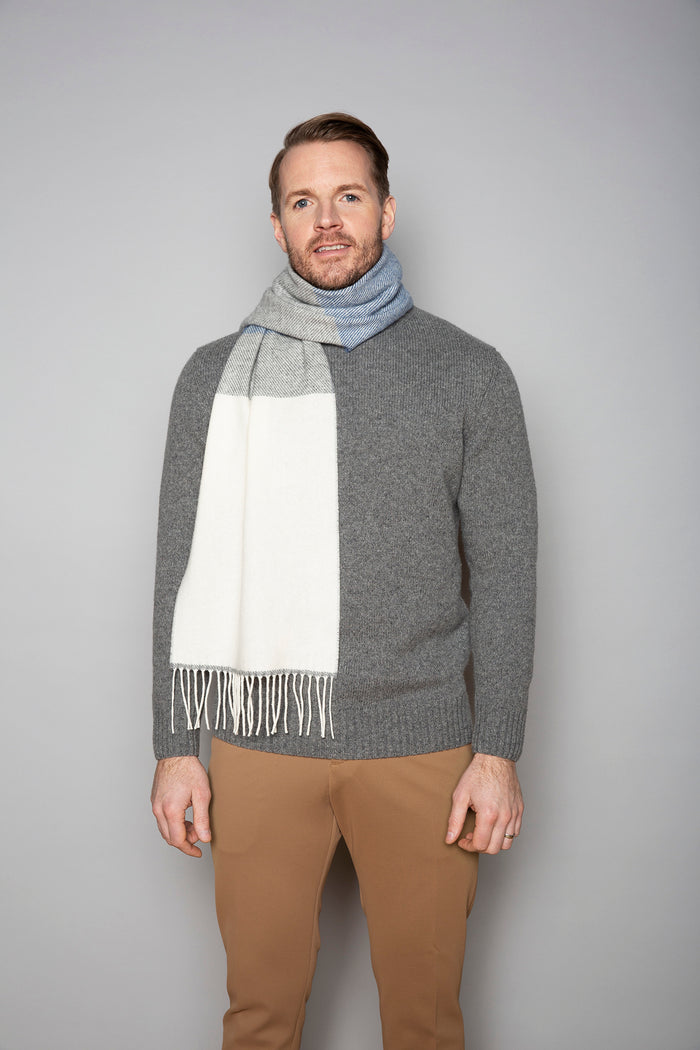 White, Uniform and and Jeans Mix Stripe Scarf