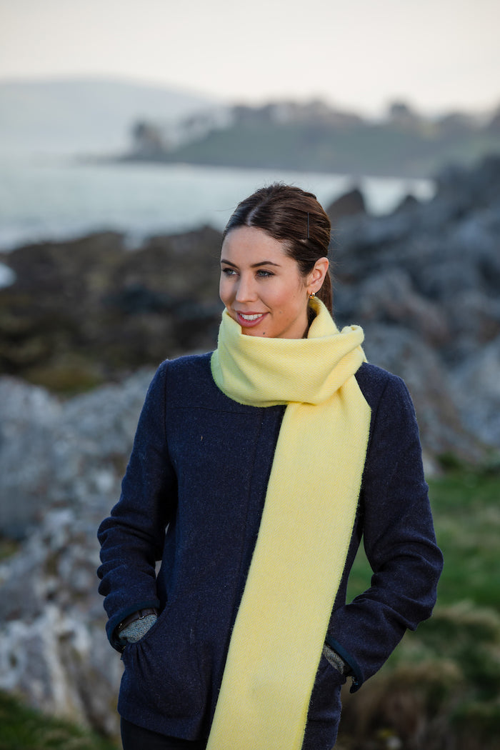 English Yellow & Barcelona Orange Lambswool Scarf