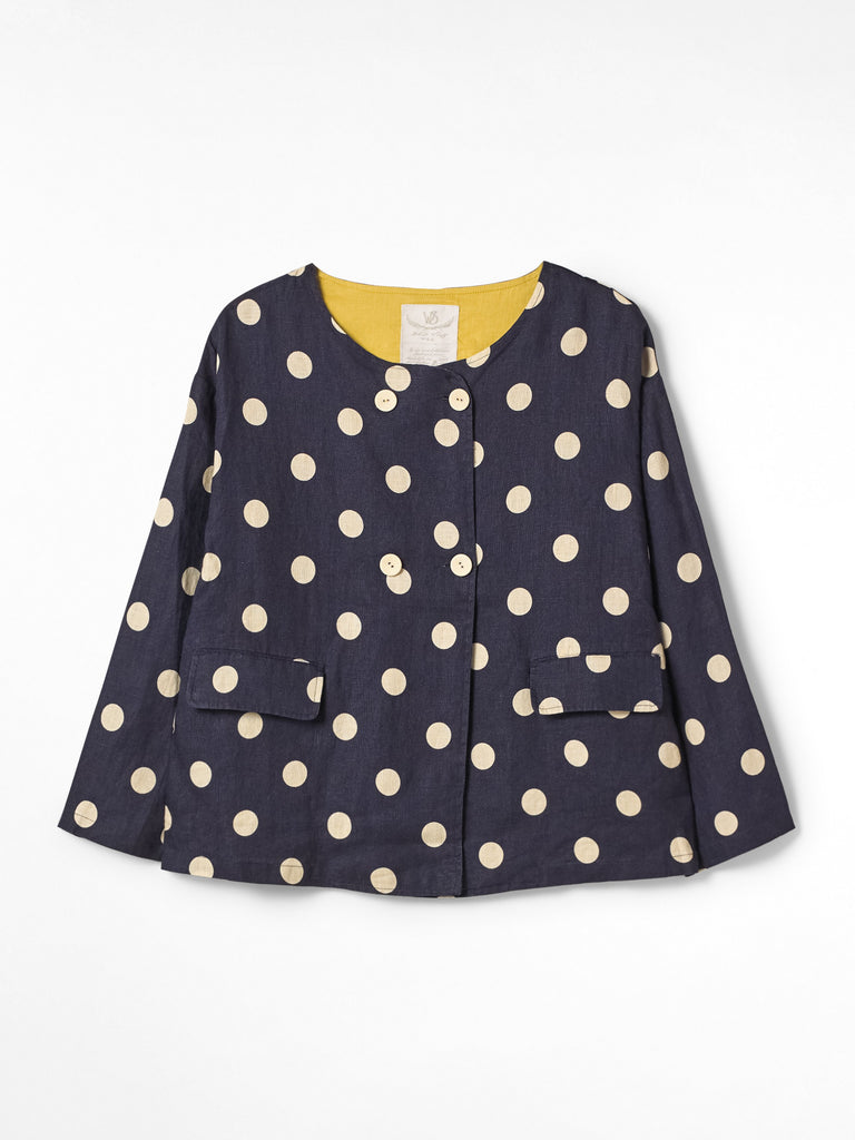 White Stuff Jessica Linen Spotty Jacket - Navy