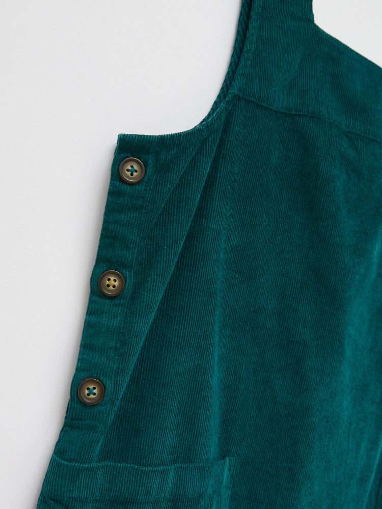 White Stuff Weekend Cord Pinafore Dress - Teal