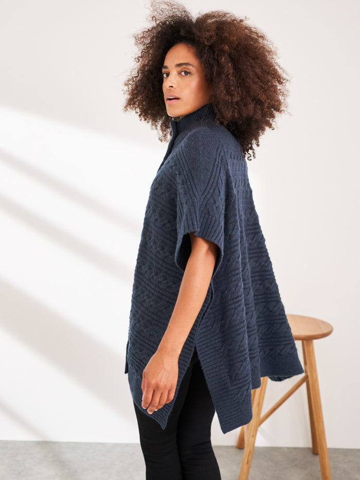 White Stuff Maple Cable Poncho - Navy