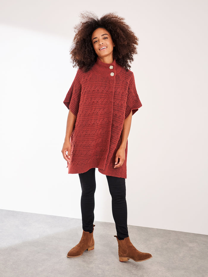 White Stuff Maple Cable Poncho - Red
