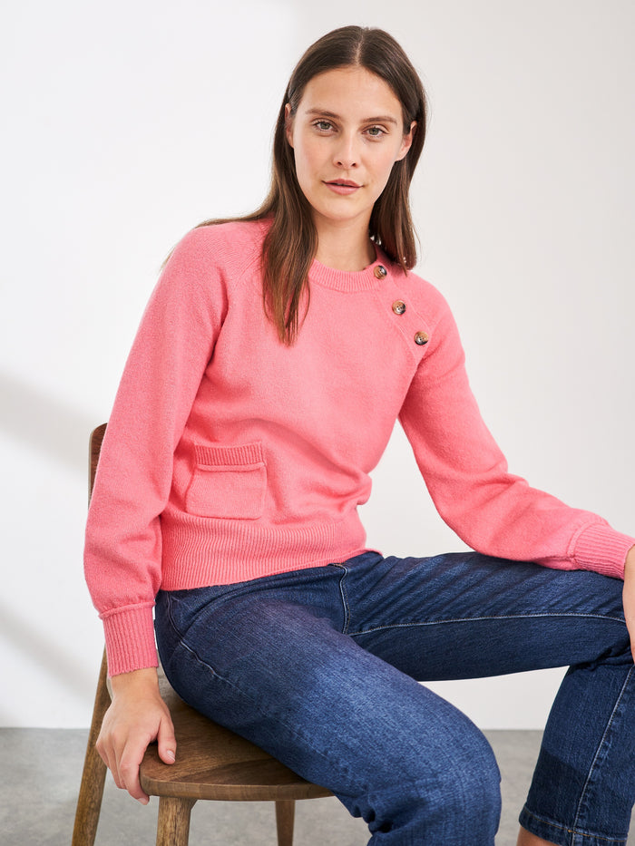 White Stuff Nutmeg Button Side Jumper - Pink