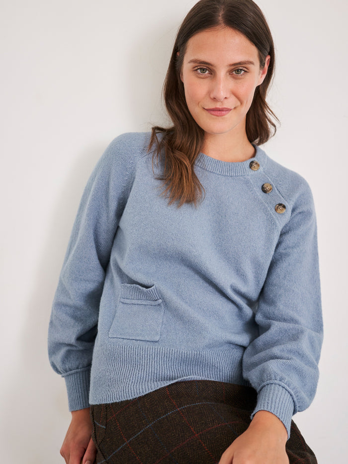 White Stuff Nutmeg Button Side Jumper - Blue
