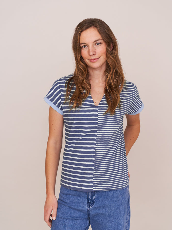 White Stuff - Nelly Notch Neck Tee Blue