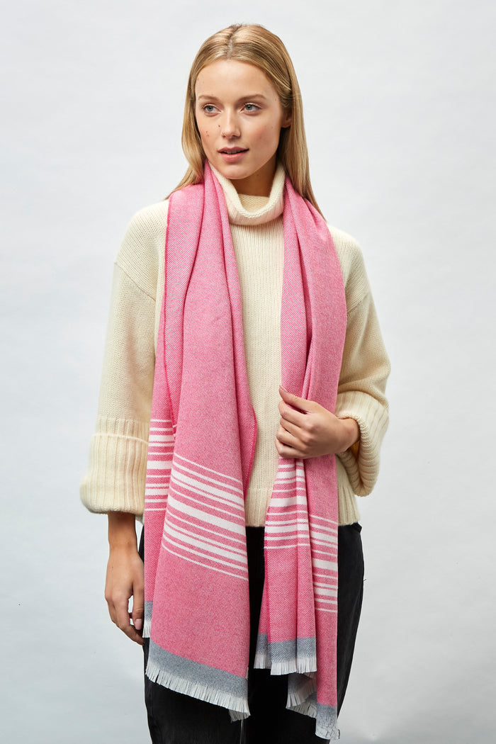 Pink, White, Oxford Border Merino Stole
