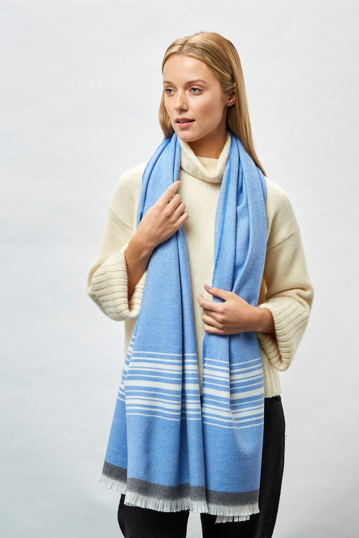 Blue, White, Oxford Border Merino Stole