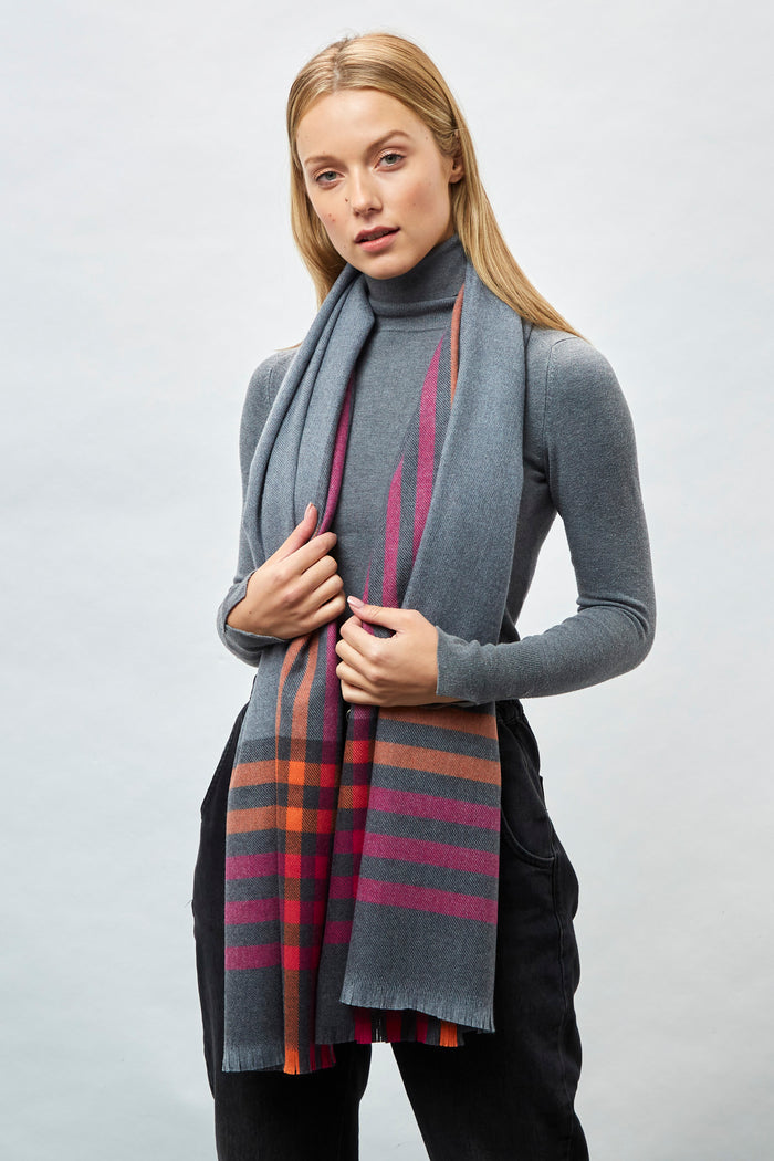 5 Stripe Border Pink, Orange, Charcoal Extra Fine Merino Stole