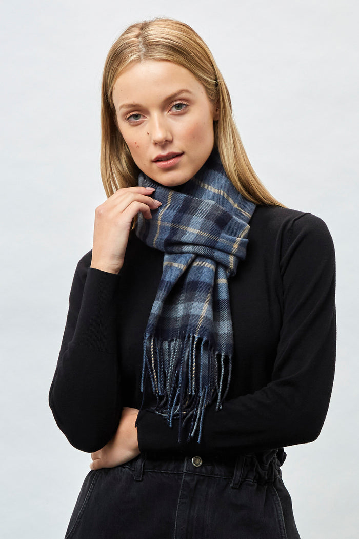 Oxford, Pearl, Denim Check - Extra Fine Merino Scarf