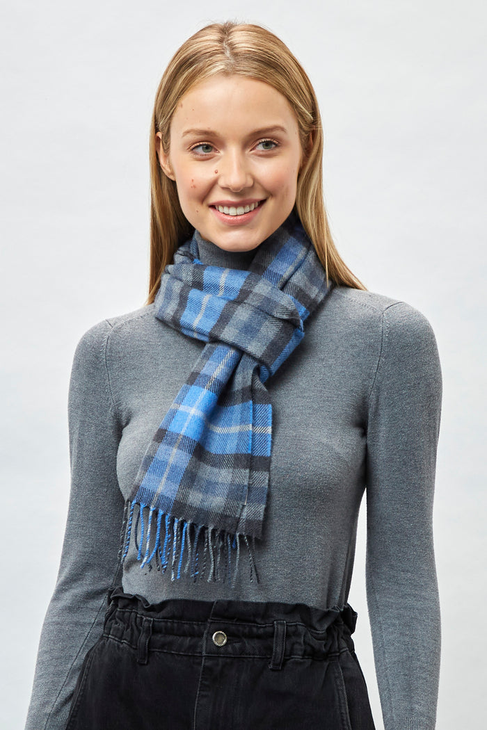 Denim, Oxford and Pearl Check - Extra Fine Merino Scarf