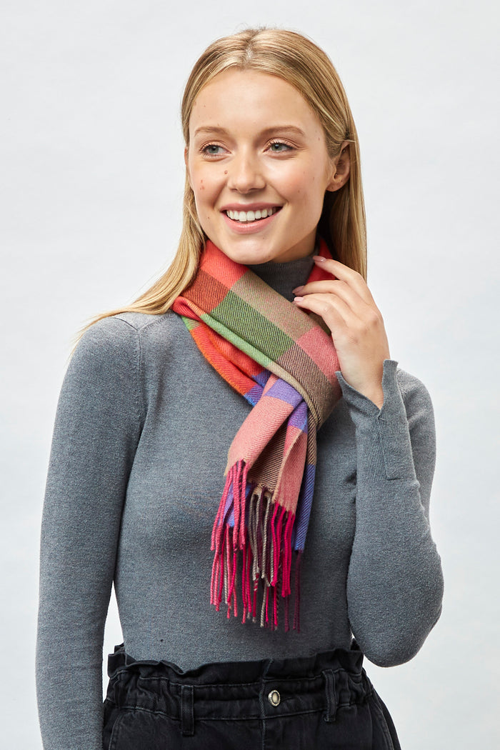 Brights Blocks Check Extra Fine Merino Scarf