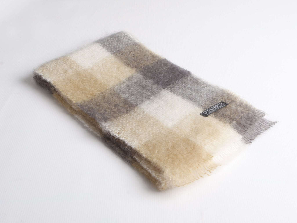 Camel, White & Oxford Mohair Scarf