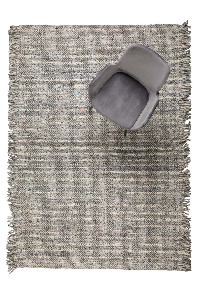Grey & Blue Frills Carpet 170 x 240cm