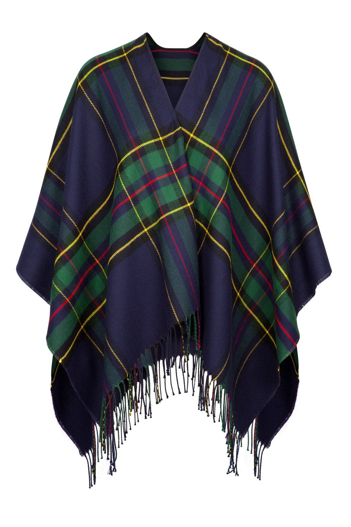 Fringed Shawl in Plaid Design