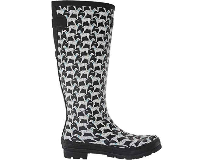 Joules Printed Welly with Back Gusset - Black Dalmatians