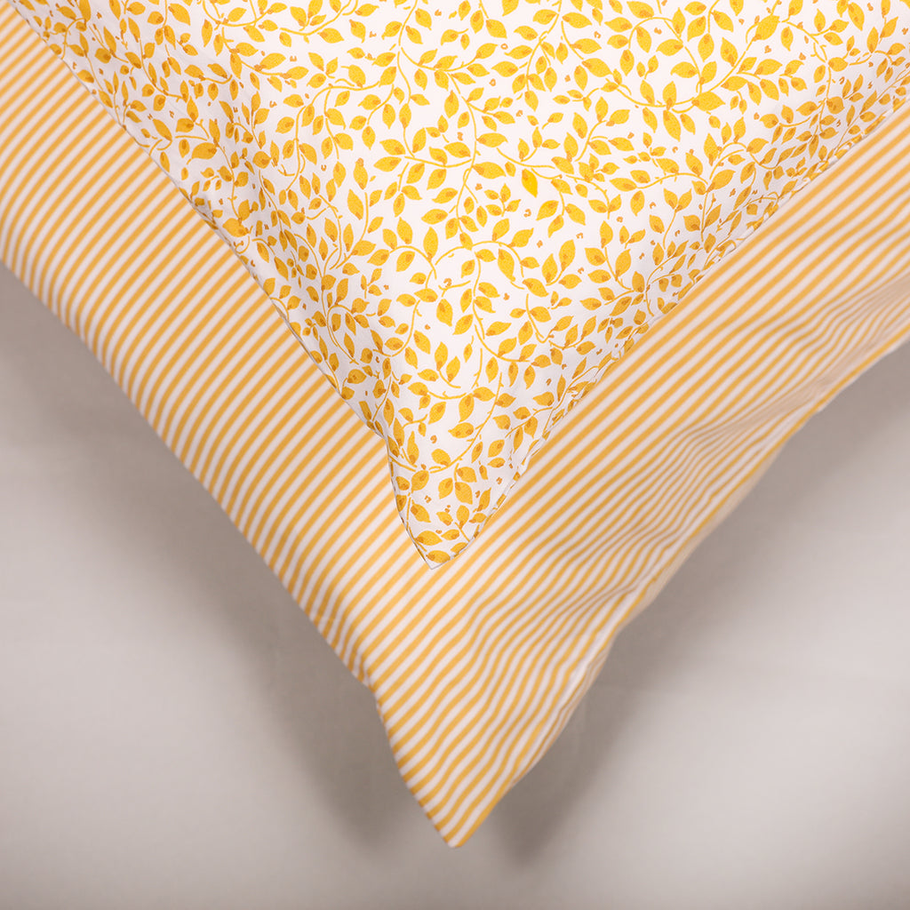 Ticking Stripe Yellow Housewife Pillowcase - Pair