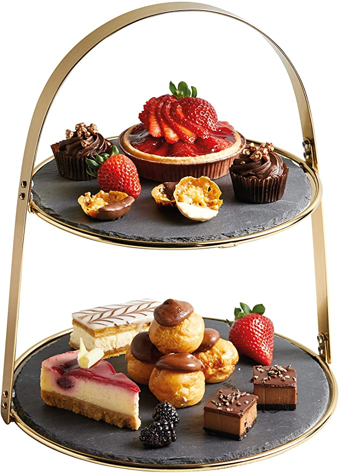 2-Tier Brass Coloured Cake Stand with Round Slate Serving Platters