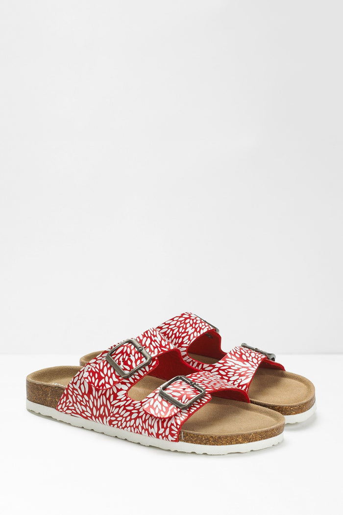 White Stuff Double Strap Printed Footbed - Red