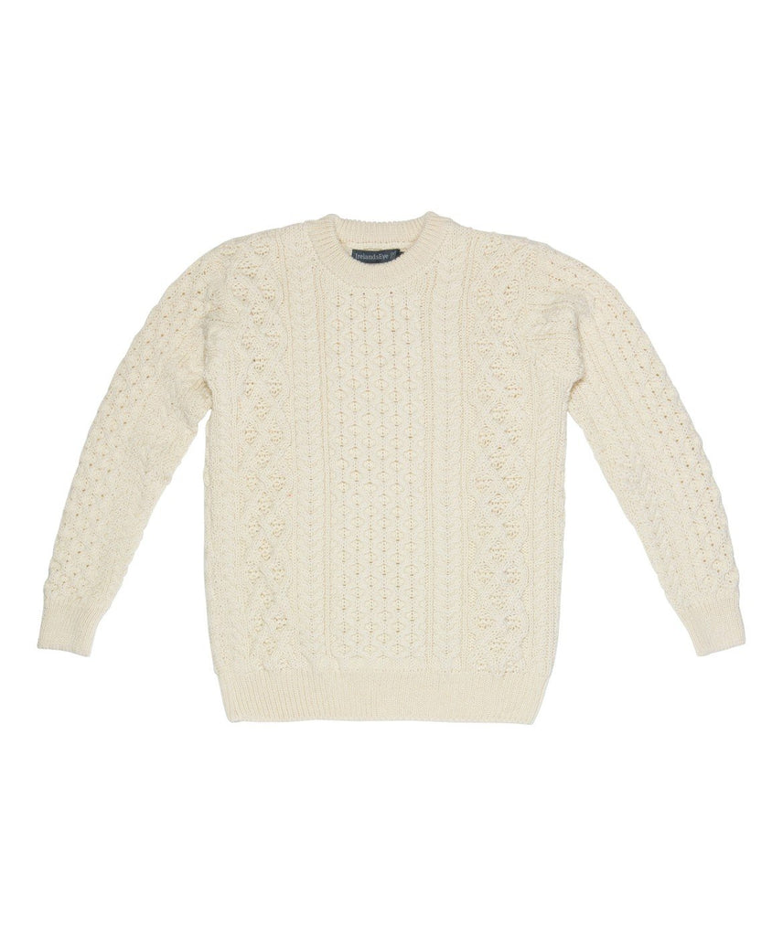 Blasket Honeycomb Stitch Womens Aran Sweater - Natural