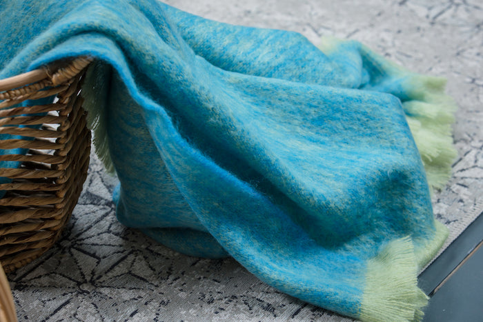 Lime & Blue Mohair Throw