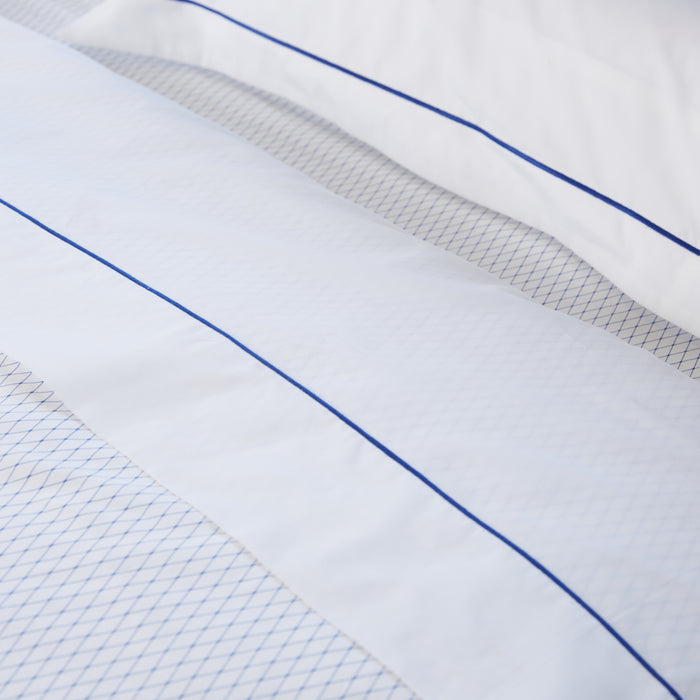 White & Blue Trellis Fitted Sheet