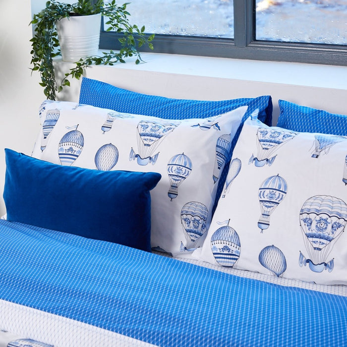 Blue Balloon Housewife Pillowcase - Pair