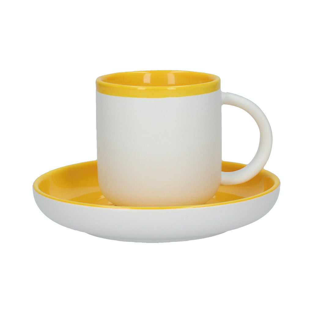 Barcelona Mustard 260ml Coffee Cup and Saucer